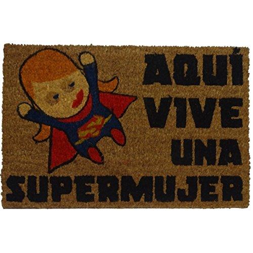 Felpudos Originales  con Diseño Supermujer, PVC, Coco, 60 x 40 cm
