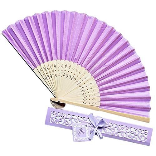 Muster Kostüm Nonne - Andouy Retro Faltfächer/Handfächer/Papierfächer/Federfächer/Sandelholz Fan/Bambusfächer für Hochzeit, Party, Tanzen(21cm.Hellpurpurn-B)