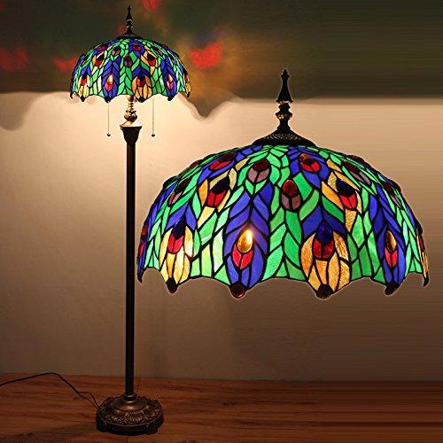 TOYM UK- camera da letto studio soggiorno lampada da terra in stile europeo Peacock Garden (Vetro Peacock)