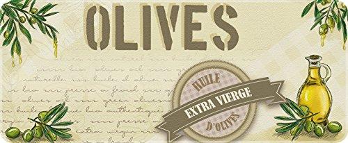 ID Mat Decor DE Cuisine Huile D'OLIVES, Fibres Synthétiques, Beige Vert, 50x120x0,4 cm