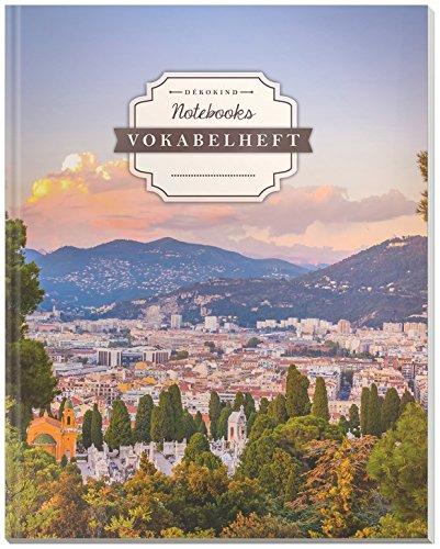 DÉKOKIND Vokabelheft | DIN A4, 84 Seiten, 2 Spalten, Register, Vintage Softcover | Dickes Vokabelbuch | Motiv: Französische Riviera