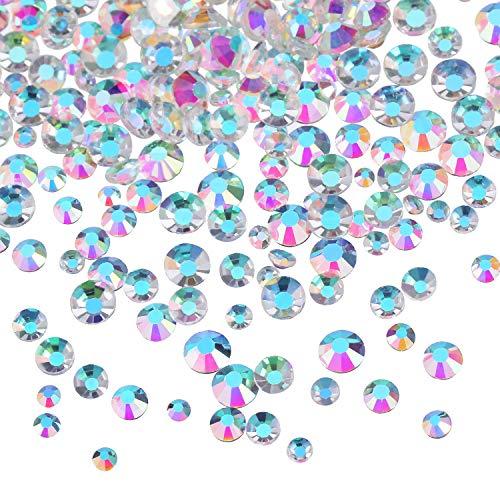 3456 Pièces Nail Cristaux AB Nail Art Strass Perles Rondes Mixte Charms en Verre à Fond Plat Pierres Précieuses, 6 Tailles pour Décoration des Ongles Artisanat (Mixte SS4 5 6 8 10 12, Clair AB)