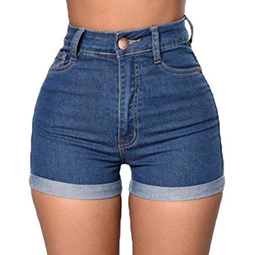 WanYang Damen Frauen Mädchen Sommer Slim Stretch Hohe Taillen Denims Curling Jeans Hosen Shorts Hot Pants