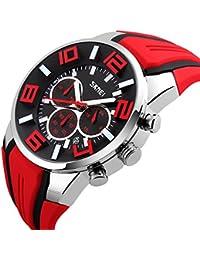 Mode Sport Bracelet En Silicone Trois Yeux Montre à Quartz Homme,Rouge