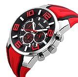 Mode Sport Bracelet en Silicone Trois Yeux Montre à Quartz Homme, Rouge