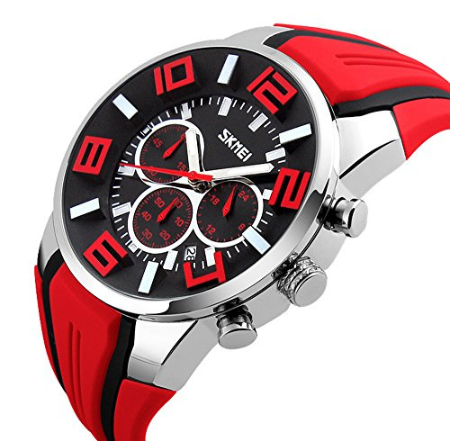 Mode Sport Silikonband Drei Augen Quarz Armbanduhr Herren, (Gläser Mode Augen)