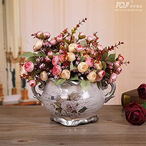 Natale ornamenti Home Arte della decorazione di simulazione artificiale Fiori Flora per feste di matrimonio e di ringraziamento dono giardino Fiore artificiale imposta, Home Decor, Living Room Bedroom Decor decorazione ornamenti,Rosa-3 fasci