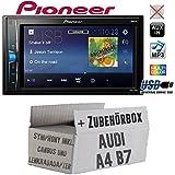 Audi A4 B7 inkl. CanBus Lenkradfernbedienung Symphony 2DIN - Autoradio Radio Pioneer MVH-A100V - 2DIN USB Touch TFT - Einbauzubehör - Einbauset