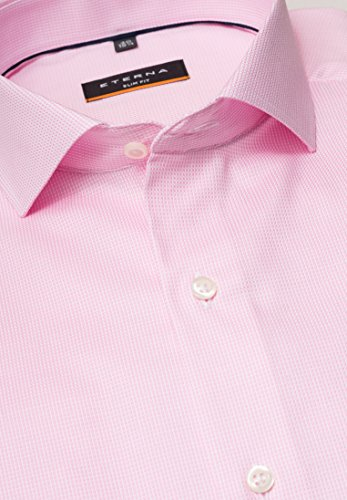 ETERNA long sleeve Shirt SLIM FIT Natté-Stretch structured Rosa/Bianco