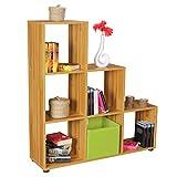 FineBuy Stufenregal Lena Buche Treppenregal für Ordner & Bücher 6 Fächer Holz | Design Raumteiler Regal | Modernes Aktenregal | Bücherregal