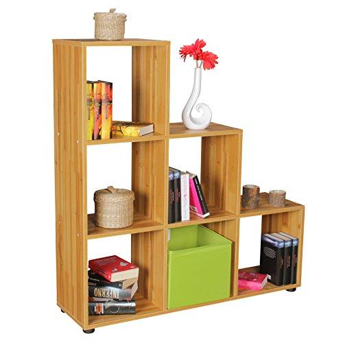 FineBuy Stufenregal Lena Buche Treppenregal für Ordner & Bücher 6 Fächer Holz | Design Raumteiler Regal | Modernes Aktenregal | Bücherregal (Buche Bücherregal)