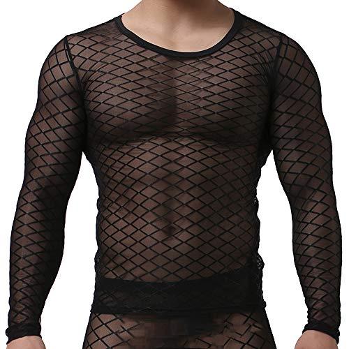 Sking Sexy Männer Schiere Transparent T-Shirt Langarm Tank Top Shirt Nachtwäsche Netz Schwarz Weiß M LXL (L, Schwarz) - Transparente Schiere