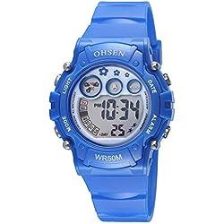 OHSEN Kids Watch Waterproof Digital Sport Wristwatch with Backlight Stopwatch Alarm - Blue