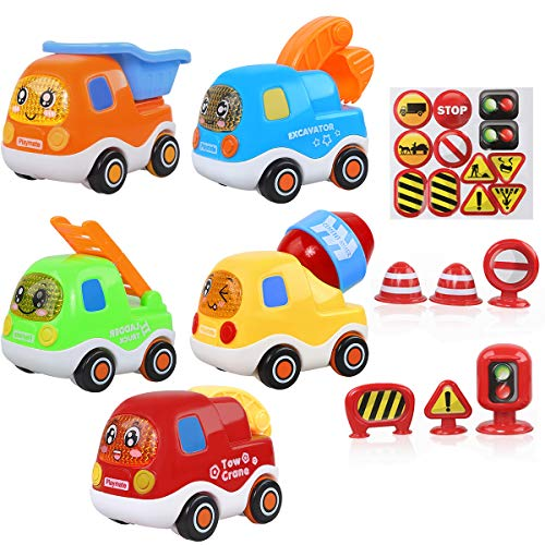 Enerdock Kleinkinder Spielzeug Set, Lernspielzeug für 1 2 3 Jahre alte Kinder Geschenk durch Reibung angetriebene Fahrzeuge Baby Mini Spielzeug Autos Kleinkinder LKW Spielzeug Set
