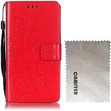 Samsung Galaxy Note 4 Funda , Camiter rojo Diseño de mariposa en relieve Cover Carcasa Con Flip Case TPU Gel Silicona,Cierre Magnético,Billetera con Tapa para Tarjetas para Samsung Galaxy Note 4 + Paño de limpieza gratuito