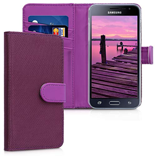 kwmobile Samsung Galaxy J3 (2016) DUOS Hülle - Nylon Handyhülle Wallet Handy Case für Samsung Galaxy J3 (2016) DUOS mit Standfunktion