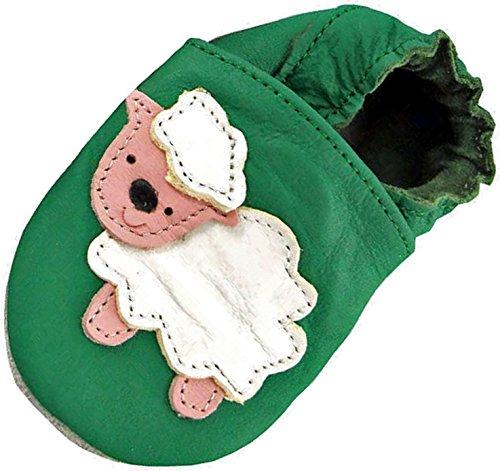 Mini-pés Sapatos De Bebê De Couro Macio, Menino E Menina, Ovelhas Verde