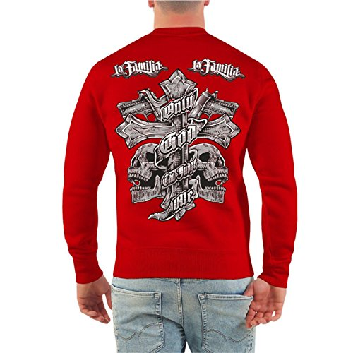 Männer und Herren Pullover La Familia Judge Me (mit Rückendruck) Größe S - 10XL Rot