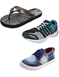 SHOEFLY Men Combo Pack OF 3 Flip-Flops With Sports & Casual Shoes - B07652B2VL