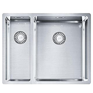 Franke Kitchen Sink Made of Stainless Steel (Silk) with 1 1/2 Bowl Box 260/160-34-16 127.0369.916, Grey