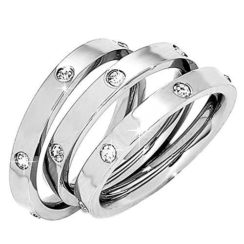 Beloved ❤️ set 3 anelli da donna, fede, fedina in acciaio inossidabile con cristalli colore bianco, indossabili insieme o separatamente, anello donna