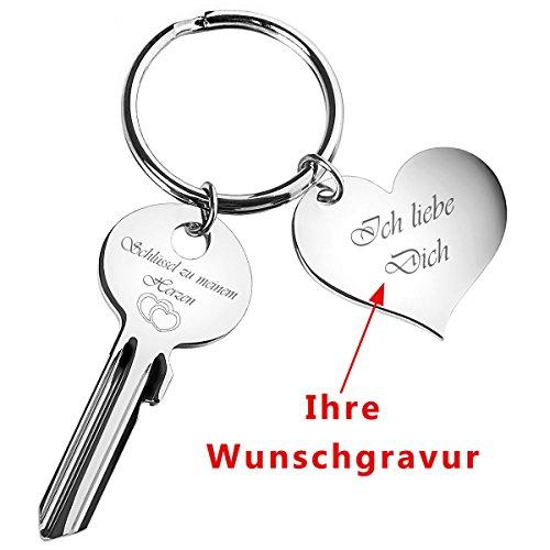 Schlüssel zu meinem Herzen mit Gravur silberfarben + Herz-Anhänger ==> personalisiertes Geschenk für Verliebte & mit deinem gravierten Wunsch-Text
