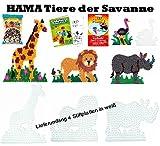 HAMA Stiftplatten-Set midi Tiere der Savanne : Giraffe, Nashorn Löwe Strauß + 3000 Bügelperlen + Bügelpapier + Malheft