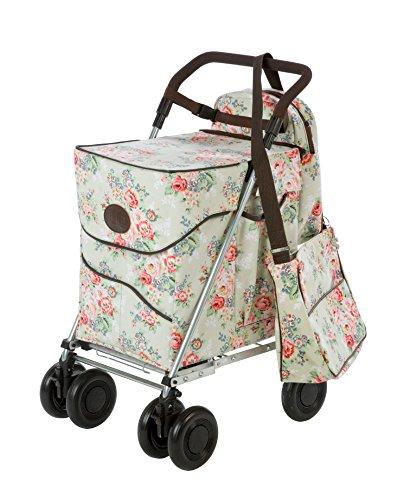 Sholley ® (Deluxe) Einkaufstrolley + Handtasche + Kühltasche (passendes Set) - Jackie Clover (Special Edition) in Blassem Blumenmuster