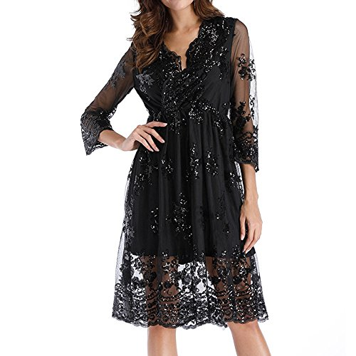 iYmitz Mode Damen Damen Double Hot Layer Langarm Pailletten glitzernden tiefen V Kragen Kleid(Schwarz,EU-34/CN-M)