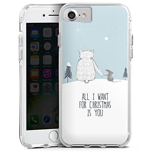 Apple iPhone 7 Bumper Hülle Bumper Case Glitzer Hülle Christmas Weihnachten Friendship Bumper Case transparent