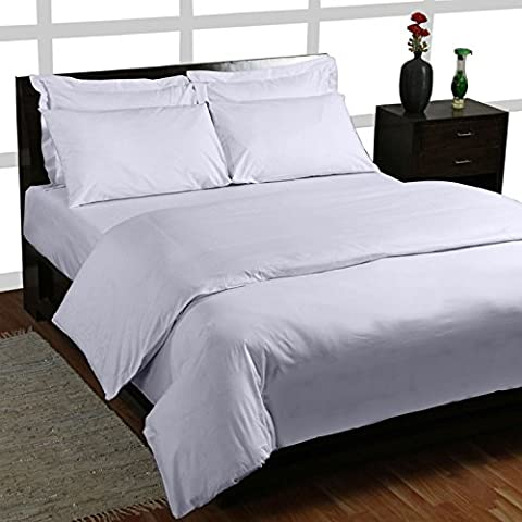 Homescapes Juego de Funda Nórdica y 1 fundas de almohada color Blanco de alta calidad 100% Algodon Egipcio de 135 x 200 cm y 50 x 75