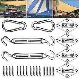 Emooqi Kit di Fissaggio per Tende, 24 Pezzi Accessori di Montaggio in Acciaio Inossidabile da Sole Rettangolare e…