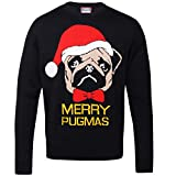 Christmas Shop - Merry Pugmas - Maglione natalizio - Adulti (M) (Nero)