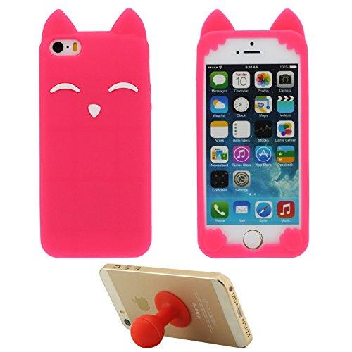 iPhone 5S Coque Rose iPhone SE Étui de Protection Anti Choc 3D Mignon Sourire Fox Désign Populaire Doux Silicone TPU Gel Mince Case Bumper pour Apple iPhone 5 5S SE 5C 5G avec 1 Silicone Titulaire rouge