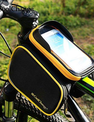 ZXC/ Fahrrad-Rahmen vorderen Kopfoberrohrtasche&Doppelfahrradpacktasche für 6.2in ??Handy Black