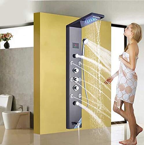 Edelstahl LED-Licht Dusche Panel Wasserhahn Wandmontage SPA-Massagesystem Duschsäule System Digital Temperatur,Black -