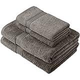 Pinzon by Amazon - Juego de toallas de algodón egipcio (2 toallas de baño y 2 toallas de manos), color gris