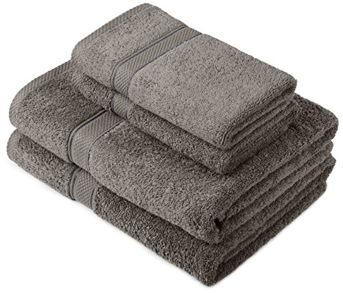 Pinzon by Amazon Handtuchset aus Baumwolle, Grau, 2 Bade- und 2 Handtücher, 600g/m²