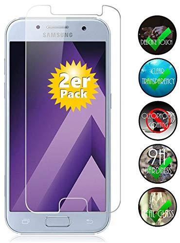 Smartphone-Equipment [2er Pack] Panzerglas für Samsung Galaxy A3 2017 Echt-Hartglas 9H, Glasfolie Schutzfolie Glas Folie Panzerfolie Display Schutz