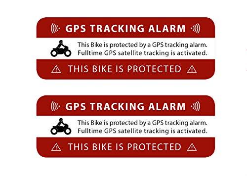 2 Stück GPS Motorrad Aufkleber Tracking Alarm Warnung Hinweis auf GPS-Sicherung Außenklebend für Motorräder Wetterfest und UV-Beständig