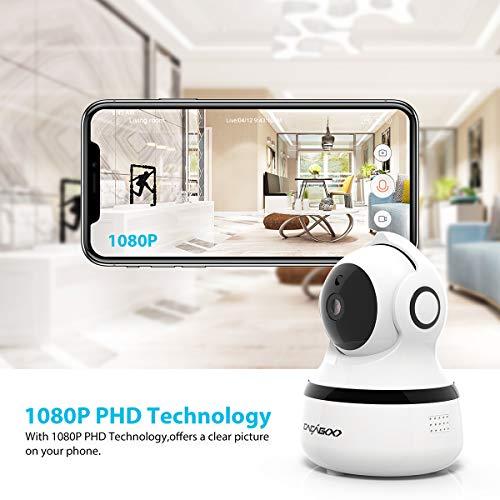 Cámara de vigilancia IP con WiFi 1080P con visión Nocturna,  Audio de 2 vías,  Alarma remota,  detección de Movimiento