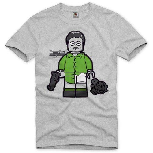 style3 Breaking Bad T-Shirt Herren heisenberg tv walter white crystal meth, Größe:L;Farbe:Grau meliert