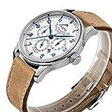 PARNIS Complication 2109 Automatik Herrenuhr Edelstahl-Armbanduhr Lederarmband MIYOTA Schnellschwinger Kaliber 9100 mit Vollkalender und Gangreserve-Anzeige - 3