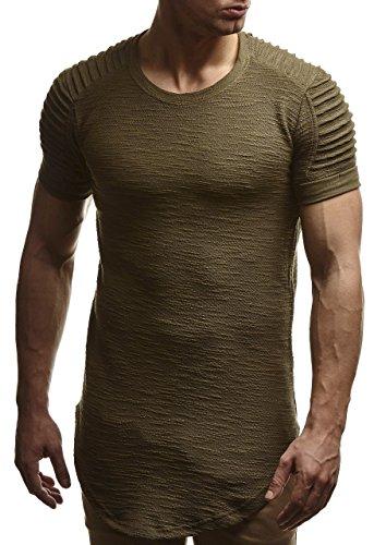 LEIF NELSON Uomo oversize T Shirt Felpa con cappuccio felpa con cappuccio ln6325 cachi