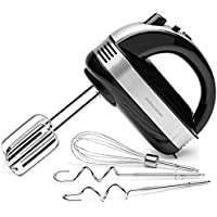 Andrew James Professional Electric Hand Mixer in Black with Balloon Whisk & Dough Hooks Plus Extra Long Beaters - 300 Watts 5 Speed with Turbo Button - 1.5m Power Cord - Ideal Kitchen Mixer for Baking and Food Preparation