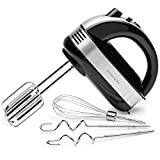 Andrew James Electric Hand Mixer for Baking | Extra Long Beaters to Reach The Bottom of The Bowl Plus Balloon Whisk & Dough Hooks | 5 Speeds & Turbo | 1.5m Power Cable | 300w | Black