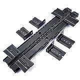 Bandeja de Teclado de escritorio homdsim 14pulgadas Rodamiento de Bolas Cajón Slide Rail Track 3/4extensión ajustable de acero Metal alta Libra capacidad montaje lateral, Suites Underdesk con tornillos, negro, 1.38inch Width