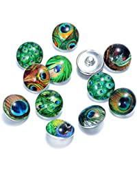 Soleebee mezclado de aluminio de vidrio 18mm botones de encaje joyas encantos 12 piezas