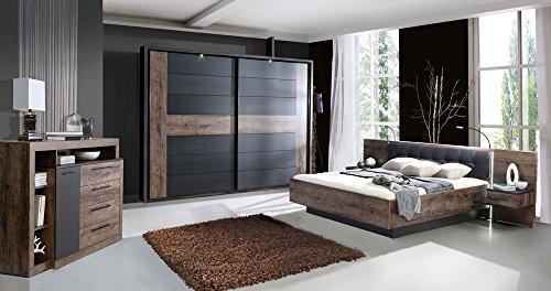 Schlafzimmer in Schlammeiche-/ und Schwarzeiche-Nachb. inkl. Beleuchtung, Schwebetürenschrank B: 269 cm, Bettanlage mit Nachtschränken: 304 cm