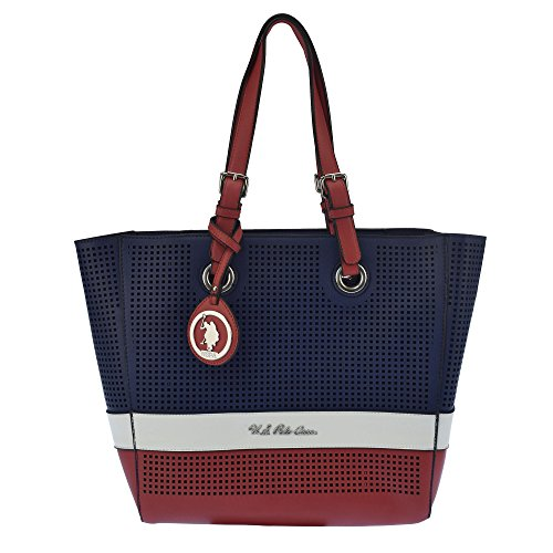 U.S.POLO ASSN. Borsa a tracolla con borsetta interna 30-45x9x30 cm Navy - Bianco - Rosso